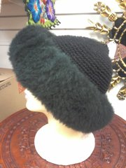 Baby Alpaca Hand Knit Fur Skin Black Hat