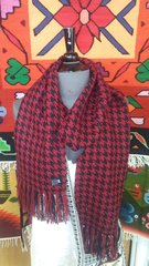 Houndstooth Alpaca Scarf, Red & Black