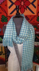 Houndstooth Alpaca Scarf, Light Blue & White