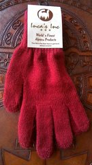 Adult Size, Baby Alpaca Gloves deep dark red