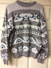 1990s Cosby Sweater Ski Print Block Design Size L Unisex