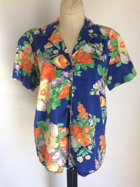 1990's Ralph Lauren Blouse. Bright Floral Print Size S