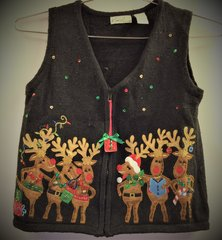 Santa's Reindeer Christmas Novelty Vest