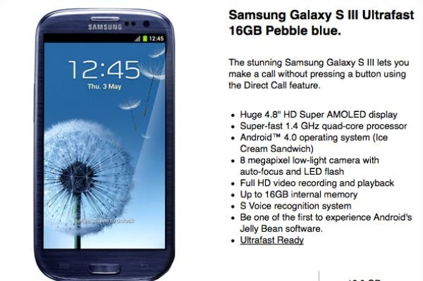 Galaxy s3 contract deals o2