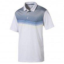 Puma Road Map Golf Polo - Bright White Electric Blue Lemonade