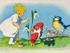 Snow Drops and Amanita People Postcard