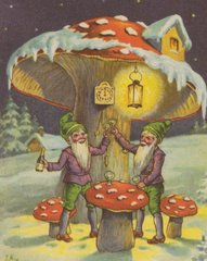 Gnomes Celebrating New Year Postcard