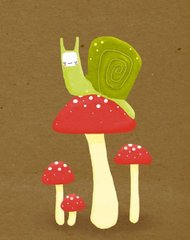 Snail and his Amanita Postcard