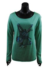 Turquoise long sleeved top with blue beaded Violin and Harp detail