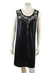 Black Sequin Gold Zip Spandex And Lace Tunic Dress