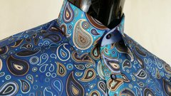 Gold tear drop paisley on blue