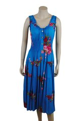 Pink Flowers on blue cotton calf length dress