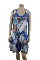 French ,multi-layered zigzag ,mixed fabrics with blues detail, sleeveless dress