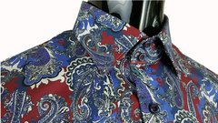 Mega Swirl Blue Paisley with red