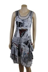 French ,multi-layered zigzag ,mixed fabrics sleeveless dress