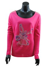 Rose Pink long sleeved top with blue and purple beaded Violin and Harp detail