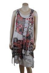 French ,multi-layered zigzag with orange detail ,mixed fabrics sleeveless dress
