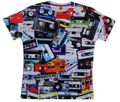 Men's cassettes printed T-shirt