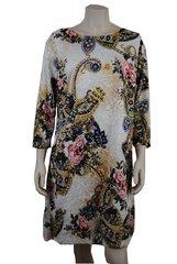 Flowered Paisley on white background sleeved spring dress