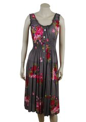 Pink Flowers on Moose brown cotton, calf length dress