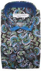 Farsim Double collar Blue swirl Paisley shirt