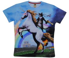 Men's cat with unicorn printed on T-shirt