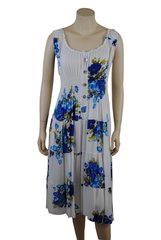 Blue Flowers on white cotton calf length dress