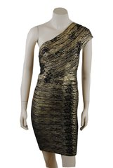 Luxury Elasticated Gold And Black Cocktail Dress