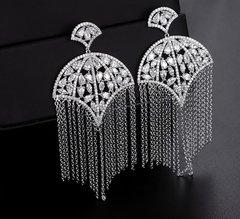 Cubic Zirconia Tassel Earrings