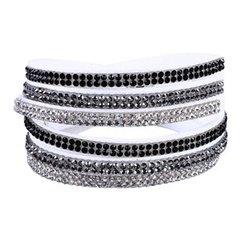 White/Black/Silver Wrap Bracelet