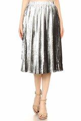 Hologram Metallic Pleated Skirt