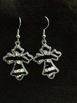 Earrings Black and Silver Cross