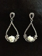 Porcelain Rose Tear Shapeed Filigree Drop Earrings
