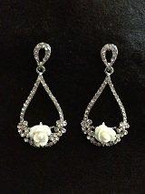 Porcelain Rose Tear Shapeed Filigree Drop Earrings