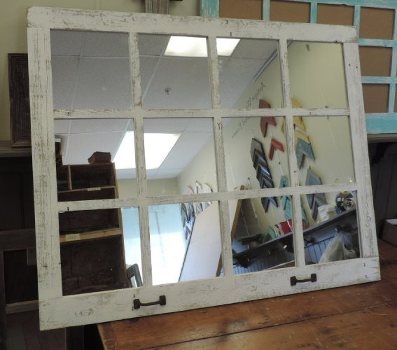12 pane 46 x 36 barnwood window mirror northern star for Window mirrors for sale