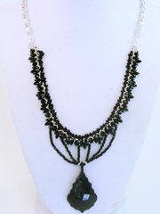 The French Connection - Antique French Jet bead Woven Choker