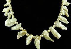 White Pearl and Czech Glass Necklace