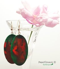 Oval - Red Green Pebble