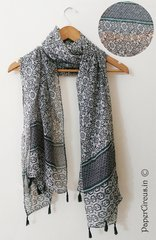 Pattern Tasseled Scarf