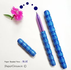 Paper Beaded Pens - Blue