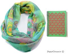 Scarf + Notebook - Green Infinity