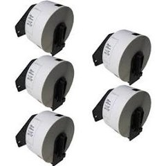 """Brother DK1208 (5 Pack) 1.4"""" x 3.5"""" 38mm x 90.3mm Compatible Die Cut Large White Paper Address Labels with Cartridges. 400 pcs"""