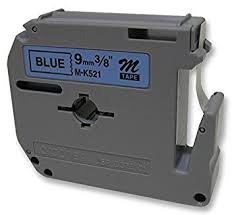 Brother MK521 Compatible RL-BR Black on Blue 9MMX8M Label Tape