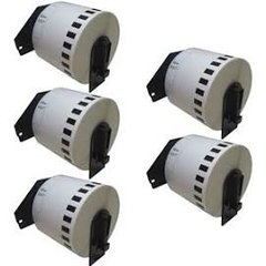 """Brother DK2205 (5 Pack) 2.4"""" x 100' 62mm x 30.4m Compatible Continous Length White Paper Tape with Cartridges."""