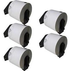 """Brother DK1202 (5 Pack) 2.4"""" x 3.9"""" 62mm x 100m Compatible Die cut White Paper Shipping Labels with Cartridges. 300 pcs"""