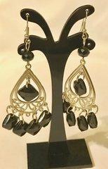 1690. Black Dangle Chandelier Earrings