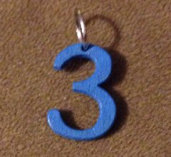 958. Wood Number 3 Pendant