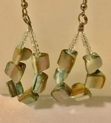 1662. Natural Shell Beaded Loop Earrings