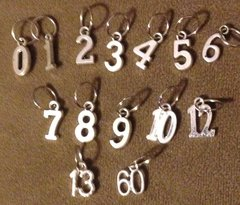 965. Silver Tone Number Pendants