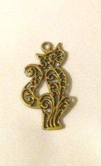1462. Antique Bronze Cat Pendant